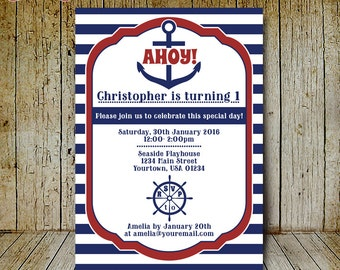 Printable Nautical Invitation with anchor and wheel - Digital nautical birthday party invite for kids