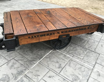Lineberry Factory Cart / Railroad Cart Coffee Table