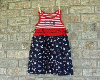 July 4th Dress, Monogram Dress, Personalized Dress, Toddler Dress, Girls, 4th of July, RTS, 3T, 4T, July 4, Soldier Deployment