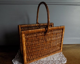 French vintage wicker basket for magazines, rustic home decor, circa 1970s.