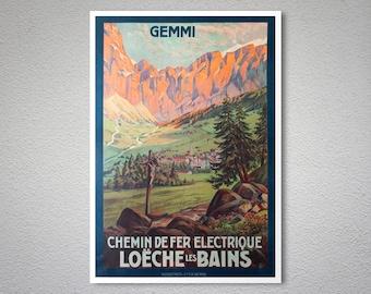 Chemin de Fer Electrique Loeche Les Bains  Vintage Travel Poster - Poster Print, Sticker or Canvas Print