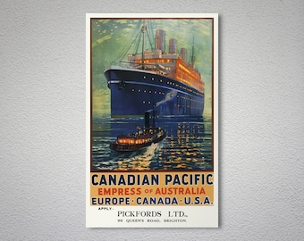 Canadian Pacific Empress of Australia - Vintage Travel Poster - Poster Print, Sticker or Canvas Print