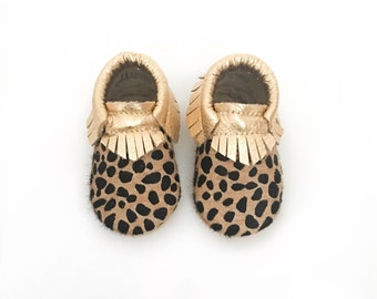 Leopard Baby Moccasins, Cheetah Baby Moccasins