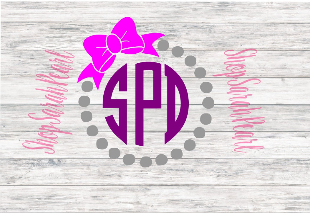 pearl monogram circle with bow initials svg png dxf eps studio