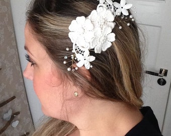 Grace -  lace bridal hair accessory, bridal headpiece, lace headpiece, lace hair accessory