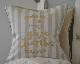 Give Thanks Pillow Cover | Fall Pillow Cover | Fall Decor | Thanksgiving Decor
