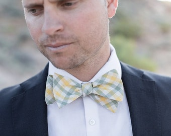 Bow Tie, Green & Yellow Plaid Men's Bow Tie