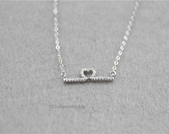 925 sterling silver jewelry newest Elegant Heartbeat CZ Pendant Chain  pendant necklace--15