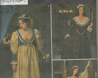 Misses Adult Renaissance Costume, Dress Sewing Pattern Size 4,6,8  Uncut Simplicity 8192
