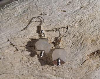 White Sea Glass Earrings - White Earrings - Sea Glass Earrings - Beach Glass Earrings