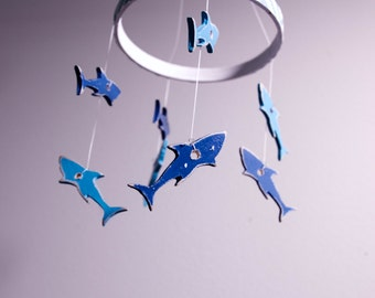 Ocean Nursery Theme/ Shark Baby Crib Mobile/ Baby Mobiles Hanging
