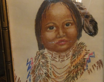 Vintage 1970's Navajo Child Drawning Signed by Navajo Artist Patrick Kay