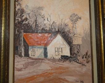 "Vintage  Oil Painting Titled"" Orange Home""/ Windmill/Trees/Old Wood Farm Wagon/Signed"