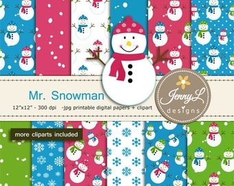 Snowman Digital Papers and Clipart, Winter Snow Digital Papers, Snowflakes Digital Paper, Frosty, Frozen, Flurries, Christmas