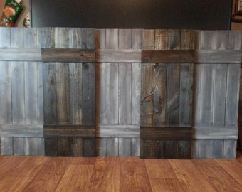 KING Headboard Wood Shutter Set - Rustic Wooden Headboard Shutters - Decorative Wood Shutters - Rustic Interior Shutters - Farmhouse Shutter