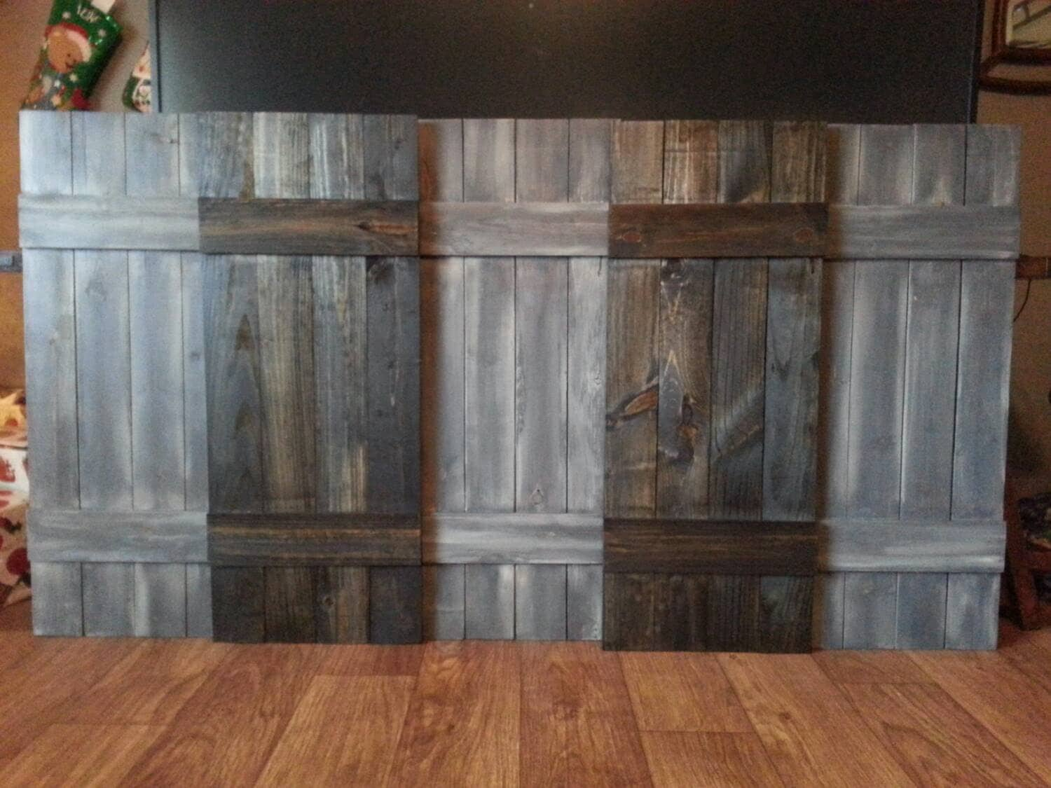 KING Headboard Wood Shutter Set Rustic Wooden Headboard