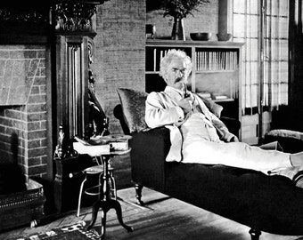 Mark Twain Poster, Smoking on the Couch, Samuel Clemens, Author, Writer