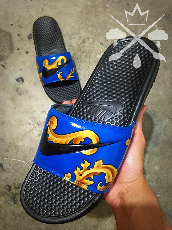 Nike Custom Blue Supreme Foamposite Benassi Swoosh Slide