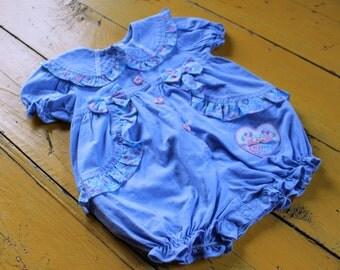 Vintage BABY GIRL Size 12 Months Blue Romper, 12 months baby girl vintage clothes, 12 months baby girl vintage, baby girl romper