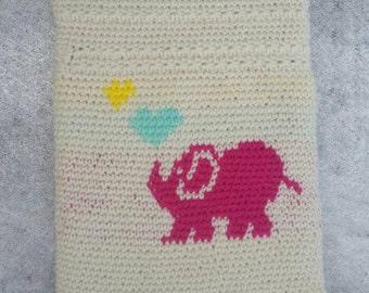 Crochet elephant iPad sleeve / case.
