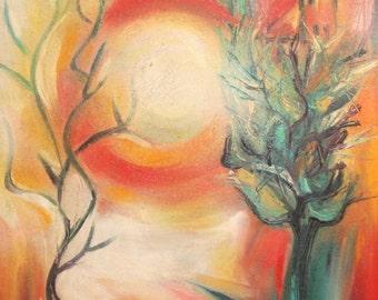 1997 Modernist landscape oil painting signed