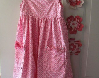 Pink Girls Dress - Sundress for 3-5 Year Old Girls - Childrens Summer Dress - Play dress with pockets - Pink Sundress for Girls - 3T Size