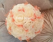 Artificial Ivory and PeachOrange Rose Bridal Posy Bouquet Real Crystals  Artificial wedding flowers