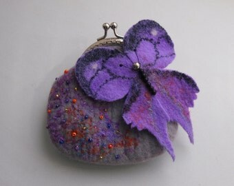 Felted wool purse-Felted wool bag-Felt bag-Felted purse--Butterfly-GREY-PURPLE