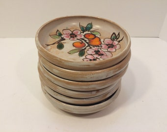 Vintage Set of 6 Pottery Small Bowls, Cherry Tree Flower Blossom, Japanese Ceramics, Pottery Bowls, Handmade Pottery, Flower Bowls