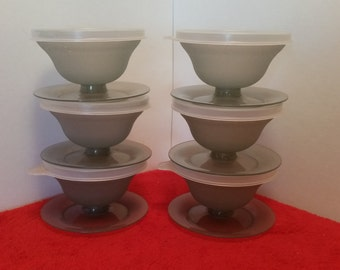 Vintage tupperware dessert cups, jello cups, parfait cups, fruit cups, set of 6 with lids in smokey grey