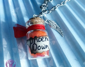 Phoenix Down in a Bottle Charm Necklace