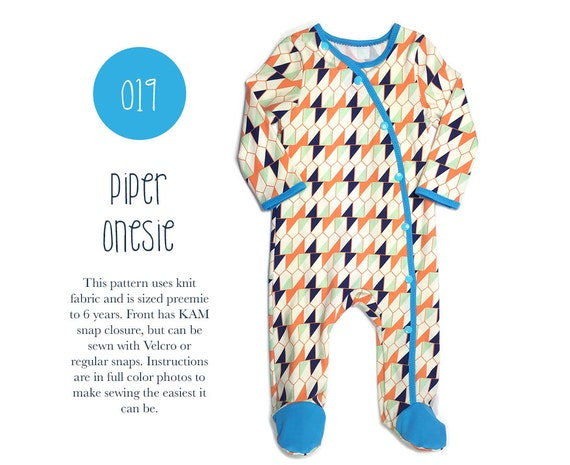 019 Piper Footed Onesie PDF Sewing Pattern Baby Kid Knit Unisex Pajama PJ Girl Boy Preemie- 6T Sadi & Sam