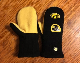 Recycled sweater mittens /Go Hawks! University of Iowa Soft and warm handmade wool sweater mittens
