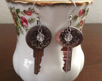 Industrial Steampunk Earrings/Shabby Chic Earrings/Aluminum Key Earrings/Upcycled Repurposed Recycled Earrings