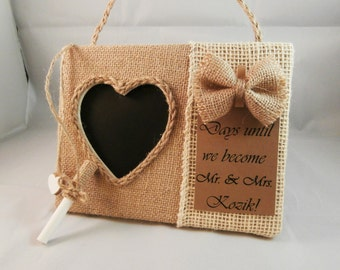 Personalized engagement gifts, engagement countdown, burlap bridal shower decor