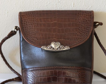 Vintage Snakeskin/Leather Navy and Brown Purse