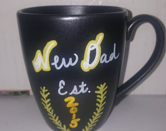 Custom New Dad 2015 Coffee Mug Hand Painted