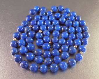 "Lapis Lazuli Bead 14K Necklace, Opera Length 32"" Long, Hand Knotted, 8mm Beads. 65 grams"