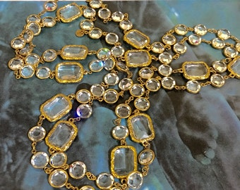 "Vintage 1981 CHANEL 64"" Clear Crystal French Runway Sautoir Necklace."