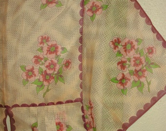 Vintage HANKIES~HANKY Half APRON with Purple Pansie~Pansy Flowers and Green Ribbon and Free Shipping