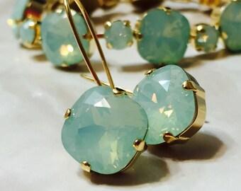 Swarovski Crystal 12mm Mint Green Opal Dangle Earrings