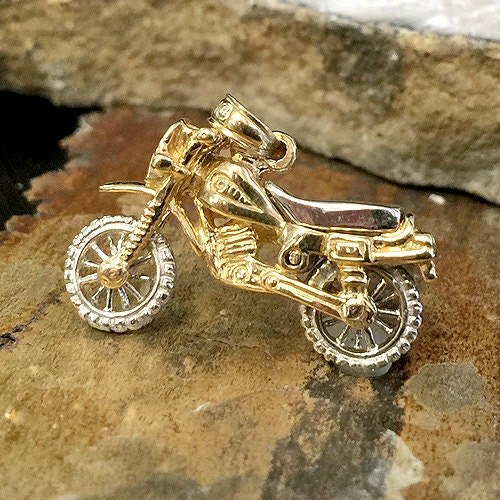 Dirt Bike Pendant Valentines Gift For Him Gold Handmade
