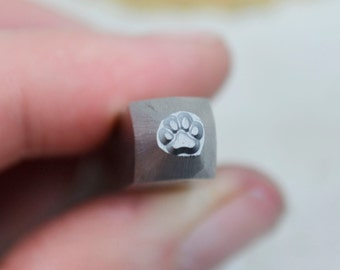 Tiny Solid Paw Print Metal Design Stamp 3mm from Superior Steel Stamps