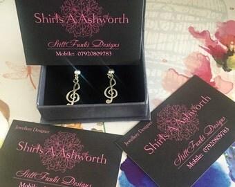 Silver Treble Clef Earrings - Handmade