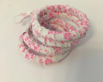 pink and white fabric bracelets, fabric covered wood bangle bracelets