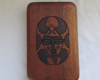 Vintage Hand Carved Hardwood Folk Art Folding Mancala Game Board ~ African Mask Design