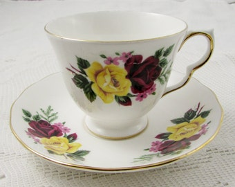 Vintage Queen Anne Tea Cup and Saucer Yellow and Red Rose, English Bone China
