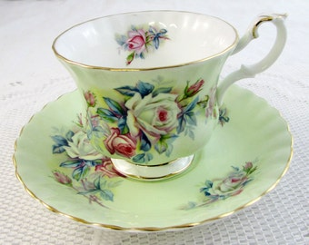 Royal Albert Tea Cup and Saucer Mint Green with Roses, Vintage Bone China
