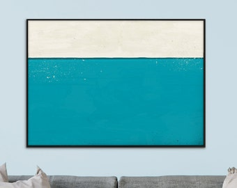 Large Abstract, Minimalistic Painting, Printable Art, 'Horizon' Large Art Prints, A1, 23.4 x 33.1, Turquoise & light cream, hand painted
