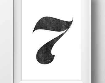 Seven. Print, Hand drawn printable art, Digital Download, black and white